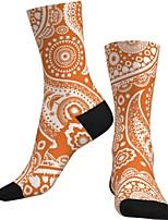 cheap -Crew Socks Compression Socks Calf Socks Athletic Sports Socks Cycling Socks Men's Women's Bike / Cycling Breathable Soft Comfortable 1 Pair Paisley Cotton Orange S M L / Stretchy