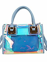 cheap -✿ womens 2 in 1 transparent sequin tote bag pvc plastic waterproof crossbody shoulder bag with adjustable strap stadium bag + cosmetic bag zipper purse girls makeup handbag