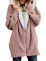 cheap -Women's Zipper Teddy Coat Long Solid Colored Going out Black Blue Blushing Pink Wine S M L XL