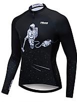 cheap -21Grams Men's Long Sleeve Cycling Jacket Winter Fleece Black Galaxy Bike Jacket Mountain Bike MTB Road Bike Cycling Fleece Lining Breathable Warm Sports Clothing Apparel / Stretchy