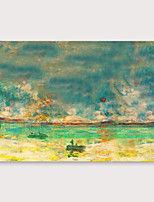 cheap -IARTS®Hand Painted onesome boat Oil Painting   with Stretched Frame For Home Decoration