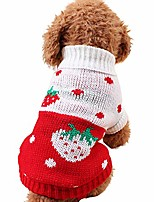 cheap -pet turtleneck classic knit sweater strawberry heart shape printed short sleeve tops dog cat puppy autumn outfit