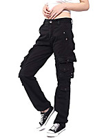 cheap -women's multi pockets casual cargo pants black