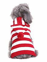 cheap -dog sweater dog winter coat red and white striped sweater holiday halloween christmas pet clothes soft dog clothes