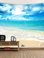 cheap -Blue Sky And White Clouds Beach Digital Printed Tapestry Classic Theme Wall Decor 100% Polyester Contemporary Wall Art Wall Tapestries Decoration