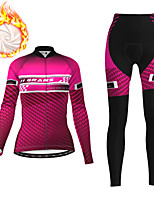 cheap -21Grams Women's Long Sleeve Cycling Jersey with Tights Winter Fleece Fuchsia Blue Orange Bike Fleece Lining Breathable Warm Sports Graphic Mountain Bike MTB Road Bike Cycling Clothing Apparel
