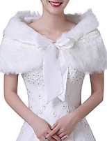 cheap -Short Sleeve Shawls Faux Fur Wedding Women's Wrap With Embroidery / Lace-up
