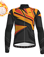 cheap -21Grams Men's Long Sleeve Cycling Jersey Winter Fleece Polyester Black Bike Jersey Top Mountain Bike MTB Road Bike Cycling Fleece Lining Breathable Warm Sports Clothing Apparel / Stretchy / Quick Dry