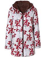 cheap -Women's Fall & Winter Coat Long Print Daily Basic Cotton White Red Green S M L XL / Loose