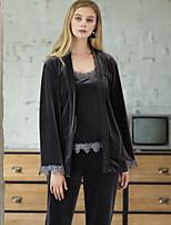 cheap -Women's Home Velvet Loungewear Patchwork Lace M Gray