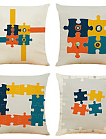 cheap -Set of 4 Personality Puzzle Linen Square Decorative Throw Pillow Cases Sofa Cushion Covers 18x18