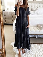 cheap -Women's Swing Dress Short Mini Dress - Short Sleeve Solid Color Backless Ruched Patchwork Summer Fall Sexy 2020 Black S M L XL XXL