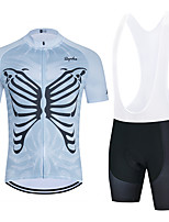 cheap -WECYCLE Men's Women's Short Sleeve Cycling Jersey with Bib Shorts Cycling Jersey with Shorts Polyester Black Dark Gray Black / White Skull Bike Clothing Suit Breathable 3D Pad Quick Dry Reflective