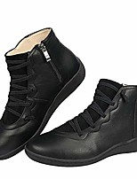 cheap -womens arch support leather lace up ankle bootie comfort waterproof zipper shoes (black, 06)