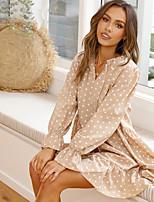 cheap -Women's A-Line Dress Short Mini Dress - Long Sleeve Polka Dot Ruffle Lace up Print Spring Fall Elegant Flare Cuff Sleeve 2020 Khaki S M L XL