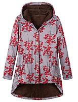 cheap -Women's Fall & Winter Coat Long Print Daily Basic Red Green S M L XL / Loose
