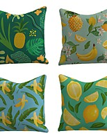 cheap -Set of 4 Linen Cotton / Linen Pillow Cover Pillowcase Sofa Cushion Square Throw Pillow Pineapple Banana Lemon Fruit Print Pillows Case 45*45cm