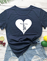 cheap -Women's T-shirt Heart Graphic Prints Letter Print Round Neck Tops 100% Cotton Basic Basic Top White Black Purple