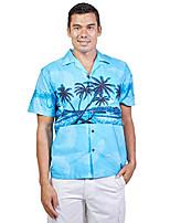 cheap -tropical luau beach palm tree print men's hawaiian aloha shirt (xxx-large, blue)