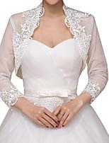 cheap -Long Sleeve Shawls Terylene Wedding Women's Wrap With Lace