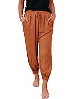 cheap -women's casual elastic waist drawstring pants ankle length jogger cropped trousers with big pockets camel