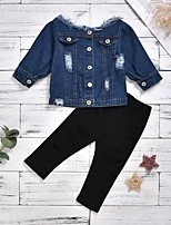 cheap -Toddler Girls' Basic Daily Solid Colored 3/4 Length Sleeve Regular Regular Clothing Set Blue