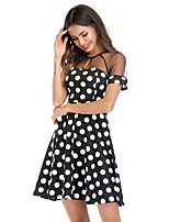 cheap -Women's A-Line Dress Short Mini Dress - Short Sleeve Polka Dot Print Print Summer Casual 2020 Black S M L XL XXL