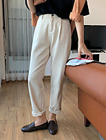 cheap -Women's Basic Comfort Cotton Loose Daily Chinos Pants Solid Colored Full Length High Waist White