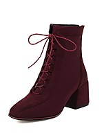 cheap -Women's Boots Block Heel Boots Block Heel Square Toe Booties Ankle Boots Vintage Preppy Daily Party & Evening Synthetics Lace-up Solid Colored Wine Black Brown / Booties / Ankle Boots