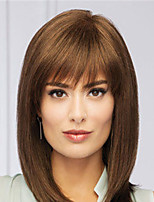 cheap -Synthetic Wig Natural Straight With Bangs Wig Medium Length Blonde Synthetic Hair Women's Fashionable Design Classic Exquisite Blonde