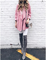 cheap -Women's Fall & Winter Open Front Coat Regular Solid Colored Daily Basic Blushing Pink Camel Dusty Blue Gray S M L XL