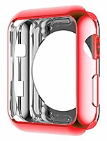 cheap -hankn compatible with apple watch case 38mm 42mm series 3 2 1, soft tpu plated smooth cover scratch-proof protector frame iwatch protective smartwatch bumper (red, 42mm)