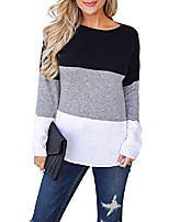 cheap -women's long sleeve casual t shirts color block elbow patches tops blouse tunic… (small, stripe)