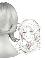 cheap -D.Gray-man Allen Walker Cosplay Wigs Men's Layered Haircut 12 inch Heat Resistant Fiber Curly Silver Teen Adults' Anime Wig
