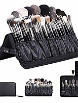 cheap -professional makeup brushes organizer bag makeup artist cosmetic case leather makeup handbag black travel portable(only bag)