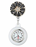 cheap -women's nurse clip on watch cute flower lapel hanging doctor clinic staff tunic stethoscope badge quartz fob pocket watch with white silicone cover