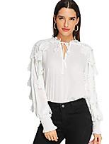 cheap -women's long sleeve tie bow neck long sleeve ruffle work blouse top white xl