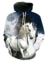 cheap -Inspired by Animal Horse Cosplay Costume Hoodie Plush Fabric 3D Printing Hoodie For Men's / Women's