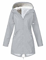 cheap -women's zip up military anorak parka jacket with hoodie drawstring plus sizes waterproof long raincoat hooded rain coat gray