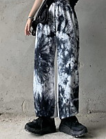 cheap -Women's Sporty Outdoor Cotton Loose Daily Pants Chinos Pants Tie Dye Full Length High Waist White Purple Gray