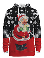 cheap -Daddy and Me Active Santa Claus Graphic 3D Print Print Long Sleeve Regular Hoodie & Sweatshirt Red