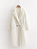 cheap -Women's Fall & Winter Teddy Coat Long Solid Colored Daily Basic Faux Fur White Red Blushing Pink Light Brown S M L