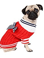 cheap -fashionable knitted navy dog sweater with bow (large, red)