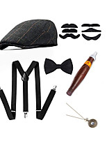 cheap -The Great Gatsby Vintage Inspired 1930s The Great Gatsby Outfits Men's Costume Gray & Black / Black / Gray Vintage Cosplay / Hat / Tie / 1 Watch / Mustaches & Beards