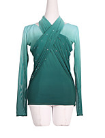 cheap -Figure Skating Dress Women's Girls' Ice Skating Dress Green Spandex High Elasticity Training Skating Wear Solid Colored Crystal / Rhinestone Long Sleeve Ice Skating Figure Skating / Kids