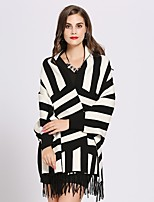 cheap -Women's Fall & Winter Cloak / Capes Long Striped Daily Active White Red Blushing Pink Khaki One-Size
