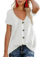cheap -Women's Blouse Shirt Solid Colored Button V Neck Tops Loose Basic Basic Top White Black Green