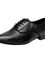 cheap -Men's Dance Shoes Latin Shoes / Jazz Shoes / Modern Shoes Oxford Heel Bows Thick Heel Customizable Black / Ballroom Shoes / Leather / Practice