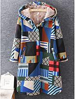 cheap -Women's Fall & Winter Coat Long Print Daily Basic Cotton Blue Orange S M L XL / Loose