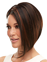 cheap -Synthetic Wig Straight Middle Part Wig Medium Length Dark Brown Synthetic Hair Women's Classic Exquisite Dark Brown
